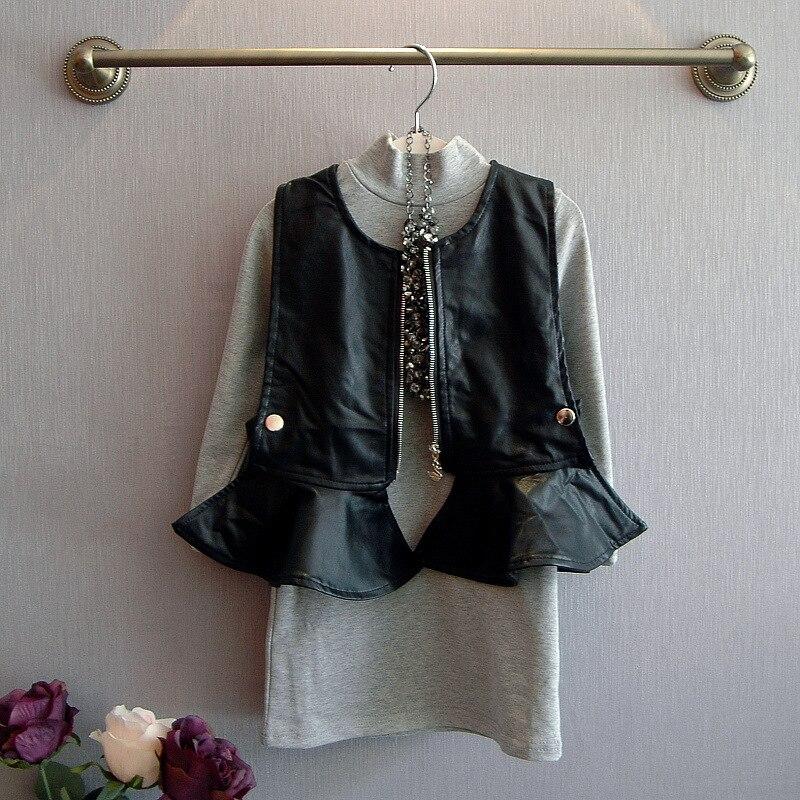 2015 autumn winter turtleneck t shirts dress+pu vest jacket 2pcs kids clothes girls set conjuntos suit 2~7age baby girls outfits