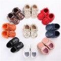 2016 nueva moda bebé recién nacido chica double fringe con cordones primer caminante infant toddler cuna bebé mocasines blandos moccs zapatos