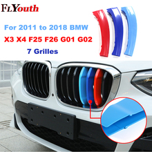 For 2011 to 2018 BMW X3 X4 F25 F26 G01 G02 7 Grilles 3D M Car Front Grille Trim Strips Grills Cover Decoration Stickers 3Pcs for 2018 all new bmw x3 g01 x4 g02 3d m motorsport stripe front grille trim strips decoration grill cover clips stickers