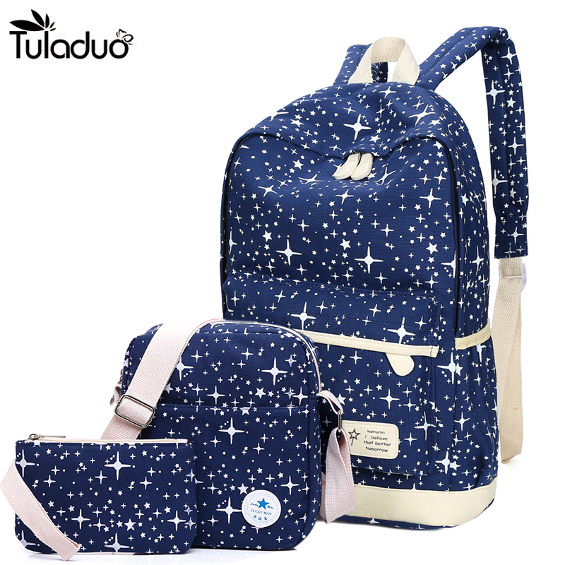 2018 New Preppy Style Canvas Backpack School Bags For Teenagers Girl Student Bookbags Rucksack Cute Stars Printing Children Set college girl canvas backpack fruit printing women school backpacks schoolbag for teenagers student book bag preppy style plecak