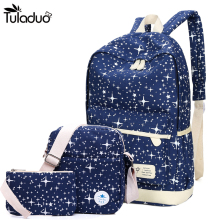 2018 New Preppy Style Canvas Backpack School Bags For Teenagers Girl Student Bookbags Rucksack Cute Stars Printing Children Set