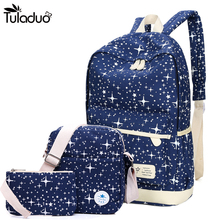 2019 New Preppy Style Canvas Backpack School Bags For Teenagers Girl Student Bookbags Rucksack Cute Stars