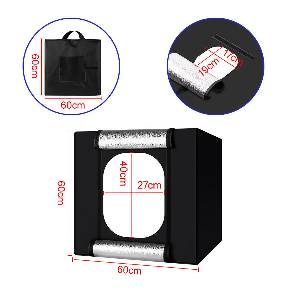 Image 2 - Yizhestudio 60 cm LED light box Folding Photo Studio Softbox light Tent with white yellow black background Accessories box light-in Tabletop Shooting from Consumer Electronics