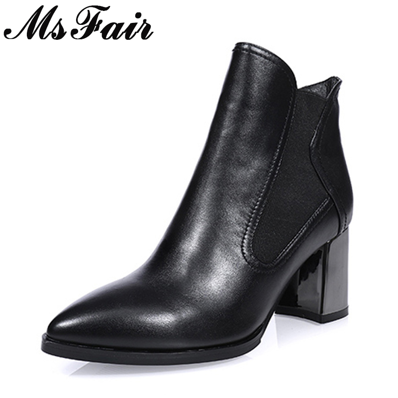 MsFair Pointed Toe High Heel Women Boots Genuine Leather Elastic band Ankle Boot Women Shoes Elegant Ankle Boots Shoes Woman стоимость
