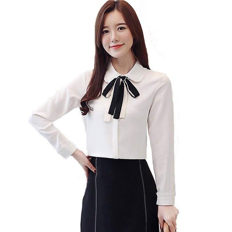Chemise pour femmes à manches longues en mousseline de soie Blouse poupée col printemps chemises professionnelles arc dames chemise hauts