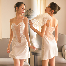 Yhotmeng 2019 new pajamas female summer sexy skirt ice silk water soluble lace nightdress sex home service