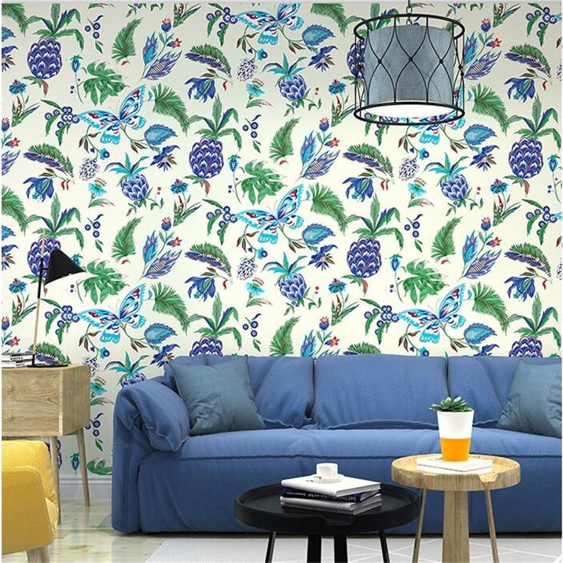 все цены на beibehang Nordic pastoral American non-woven wallpaper butterfly pineapple flower bedroom living room TV background wallpaper