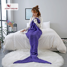 Slowdream Purple Mermaid Tail Blanket Throw Blanket For Adult Kids Sofa Bed Sleeping Bag Wrap Knitted Handmade Blanket Best Gift winter sleeping bag bed throw wrap mermaid blanket