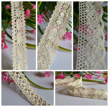 DIY home textile handwork Lace Accessory 100% cotton About 22 ~ 45mm beige 5 design mixed 20yards/lot Diy decoration A3