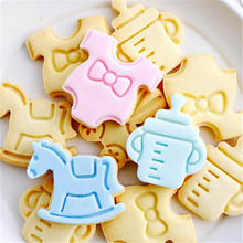 4PCS/Lot Baby Kid's Products Biscuit Cookie Cutter Cradle Feeding Milk Bottle Merry-on-round Shape Biscuit Cookie Plunger Cutter