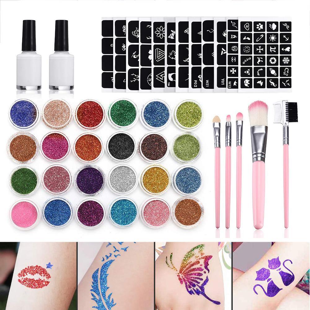 24 piezas Color 125 plantillas Set Flash diamante brillo Flash polvo para tatuaje temporal Set niños cara pintura del cuerpo arte herramientas de