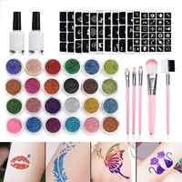 24Pcs di Colore 125 Modelli di Set Flash Diamante di Scintillio del Flash In Polvere per il Tatuaggio Temporaneo Set Bambini Viso Body Painting Art strumenti Vestito