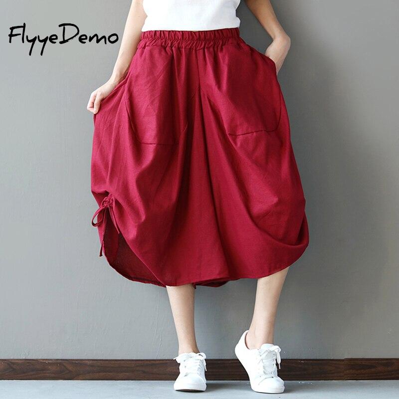 FlyyeDemo 2017 New Fashion Summer Women   Pants   Wide Leg   Pants   Elastic Waist Trousers Women   Capri   Loose Casual   Pants   Red Black