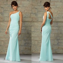 New Hot Selling Trumpet Vestido De Festa Noite 2015 One Shoulder Backless Sleeveless Chiffon Long Bridesmaid Dress