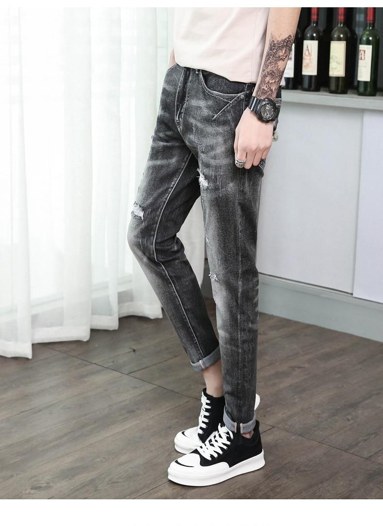 KSTUN Jeans Men Pants Skinny Stretch Grey Ripped Jeans Hip hop Casual Retro Broken Man Fake Zipper