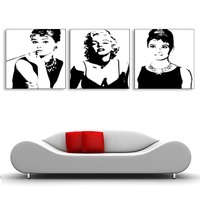 Painting With Frame Wall Art Canvas Marilyn Monroe Star Home Decorative Art Picture 3 Pieces 40x40cm