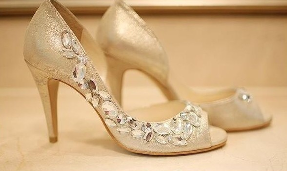 Wedding Heels With Rhinestones: 2018 Handmade Peep Toe Champagne Rhinestone Wedding Shoes