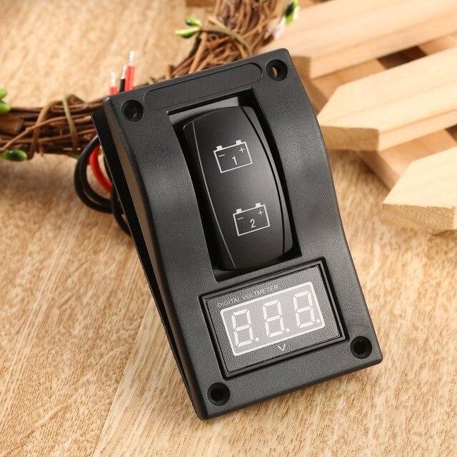 Waterproof 12-24V LED Dual Digtal Voltmeter Battery Test Panel Rocker Switch for Car Motorcycle Truck Marine Boat