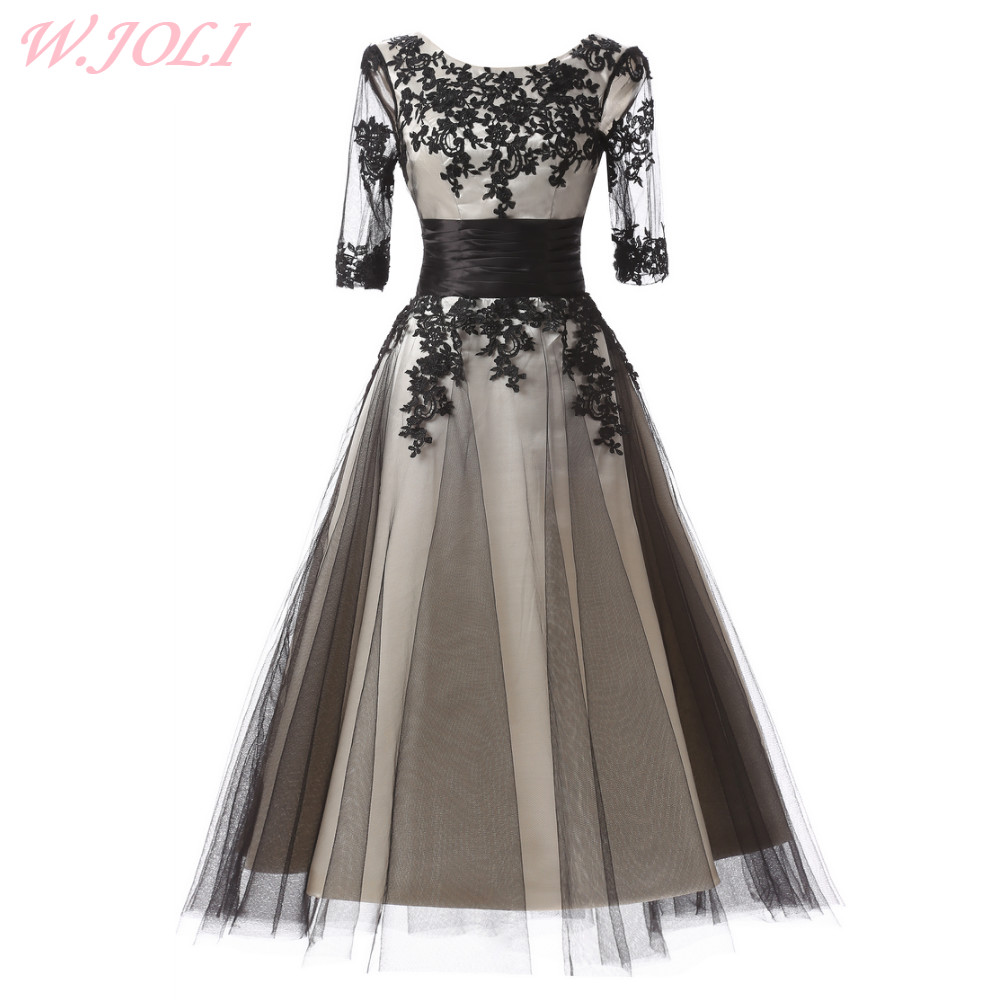 W.JOLI Evening Dress Vintage Prom Gown Elegant Lace Appliques Flowers O-NECK Bride Banquet Wedding Party Dresses