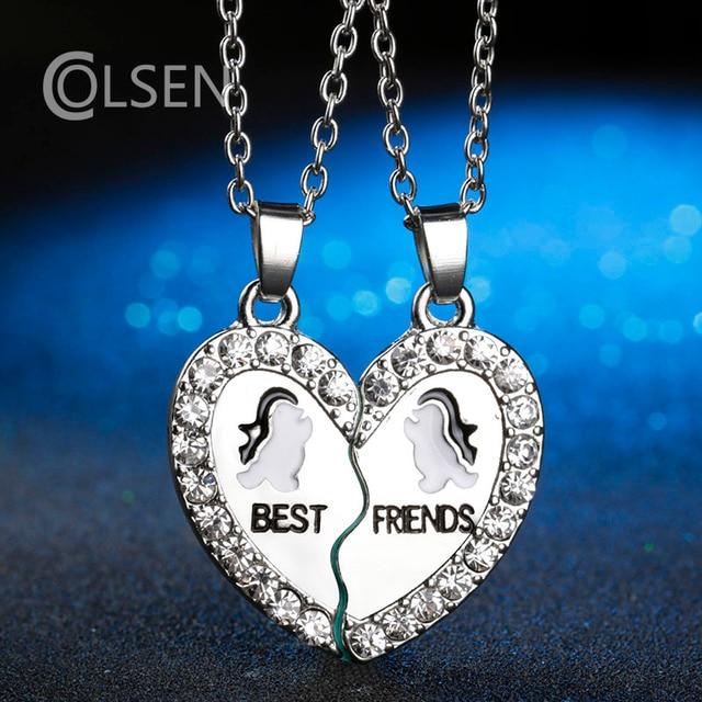 f087e63cef0a COLSEN nueva versión Coreana de la personalidad en forma de corazón de color  plata colgante de