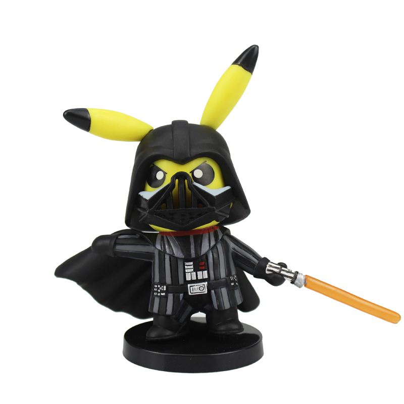 Free Shipping 4 Monster Anime Pikachu cos Black Warrior Darth Vader Boxed 11cm PVC Action Figure Model Doll Toys Gift