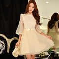 dabuwawa vintage dress autumn stand collar new fashion casual tutu dresses women pink doll