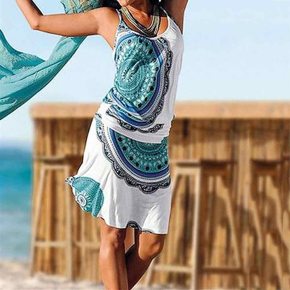 Новинка 2019, женское повседневное богемное Платье с принтом, без рукавов, макси, вечерние, Пляжное платье, vestito spiaggia, пляжное платье, накидка
