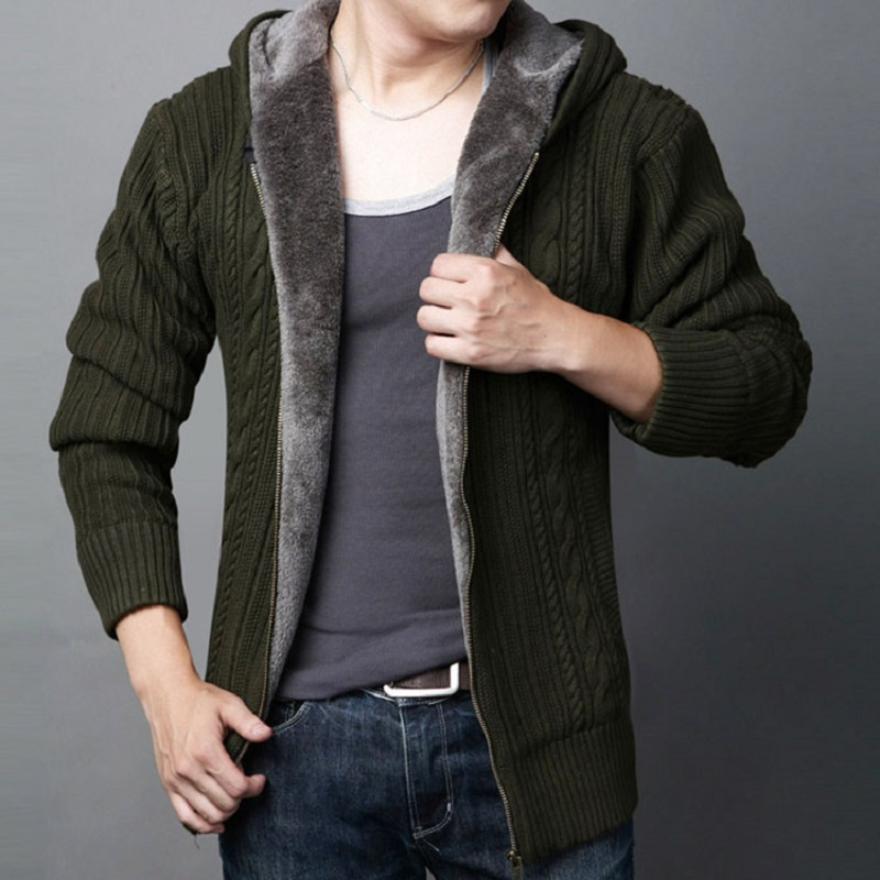 Men Cardigan Plus Size Winter Thick Warm Wool Male Knitted Slim Fit Cashmere Fleece Sweater Autumn Hooded Coat Zipper Black 5xl