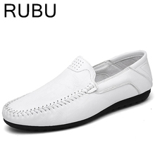 Men Soft Loafers Fashion Man Flats Comfy men's slip on rubber adult light up shoes leather brand luxury Driving summer white /05