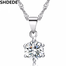 SHDEDE Small Clear Cubic Zirconia Pendant For Women CZ Crystal Ladies Necklace Classic Fashion Jewelry Gift -116