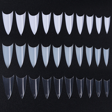 500Pcs Sharp Pointed French Half Nail Tips 10 Sizes Clear White Natural Nail Art Design Tips Manicure Practice Display Tool