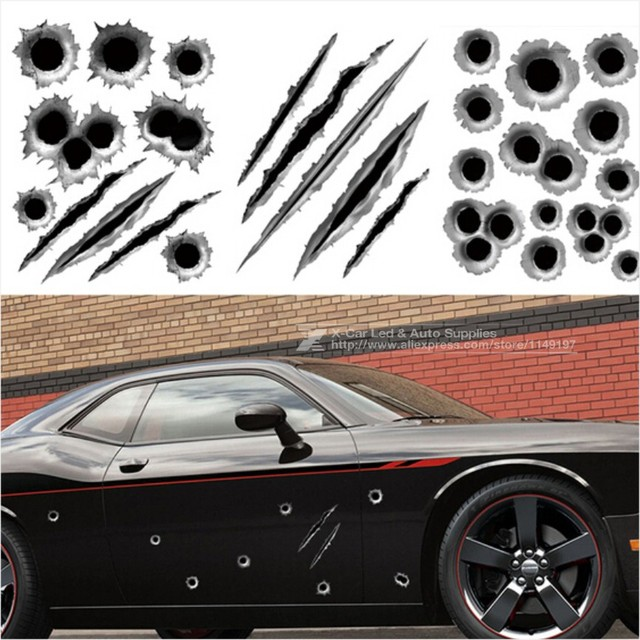 By dhl or ems 1000pcs car sticker 3d bullet hole car styling accessories motorcycle simulation scratch