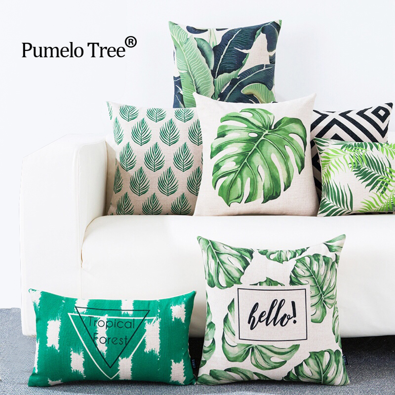 3D Green Leaf Pudebetræk Botaniske Tropiske Palm Tree Leaves Geomtric Black Beige Pudebetræk Bedroom Sofa Decoration