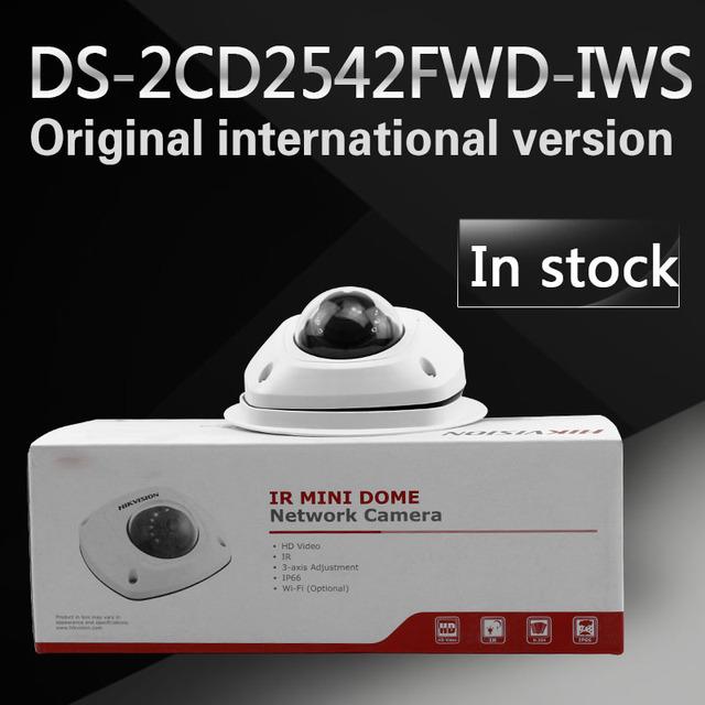 Em estoque frete grátis versão em inglês DS-2CD2542FWD-IWS Áudio 4MP WDR Mini Rede Dome Câmera com WI-FI