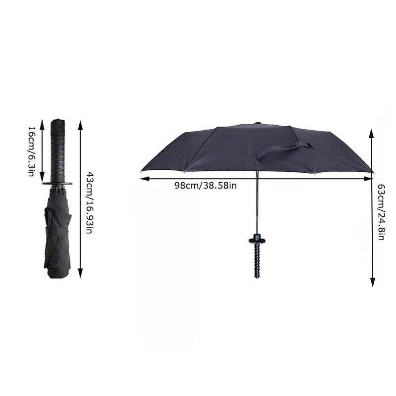 GQIYIBBEI творческий японский самурай ниндзя, меч Кинжал Форма зонтик с длинной ручкой черный Дождь Защита от солнца складной нож для ежедневного использования, зонты от солнца