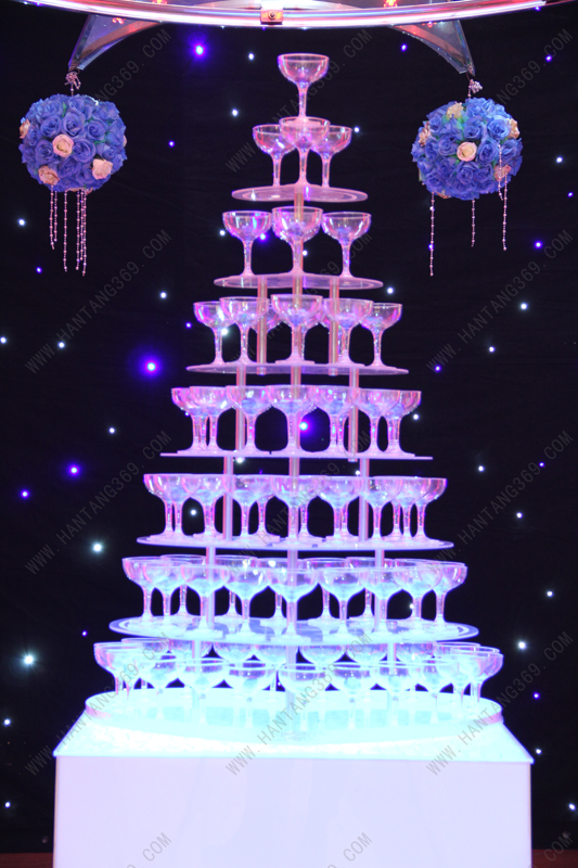 Форма сердца 7 ярусов акриловые Пирамида бокалов для шампанского (за исключением чашек и света) Банкетный Пирамида бокалов для шампанского