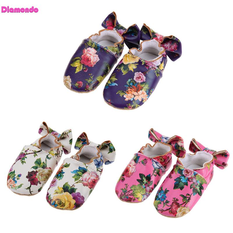 Springl Baby Flora Moccasins Toddler Soft Bottom Anti-Skid Bowknot Flower Print First Walkers Infant PU Leather Crib Girl Shoes