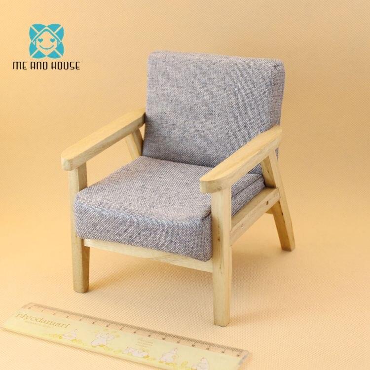 Sofa V I Mini: 1/6 Scale BJD Single Sofa Dollhouse Miniature 12th Wooden
