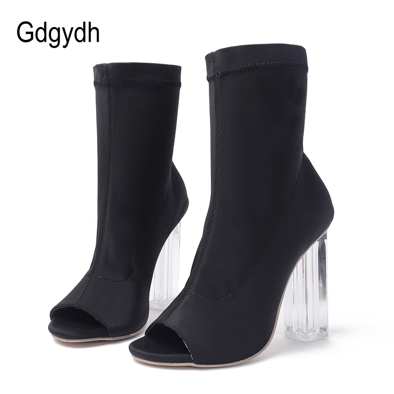 Gdgydh Fashion Sock Boots Women Heels 2018 New Spring Autumn Stretch Fabric Thick Heels Women's Shoes Open Toe Size 40 spring 2016 new arrive women fashion boots solid casual boots round waterproof high heeled women boots stretch stovepipe boots