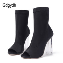 7c995a918356f2 Gdgydh mode chaussette bottes femmes talons 2018 nouveau printemps automne  Stretch tissu épais talons chaussures pour femmes bou.