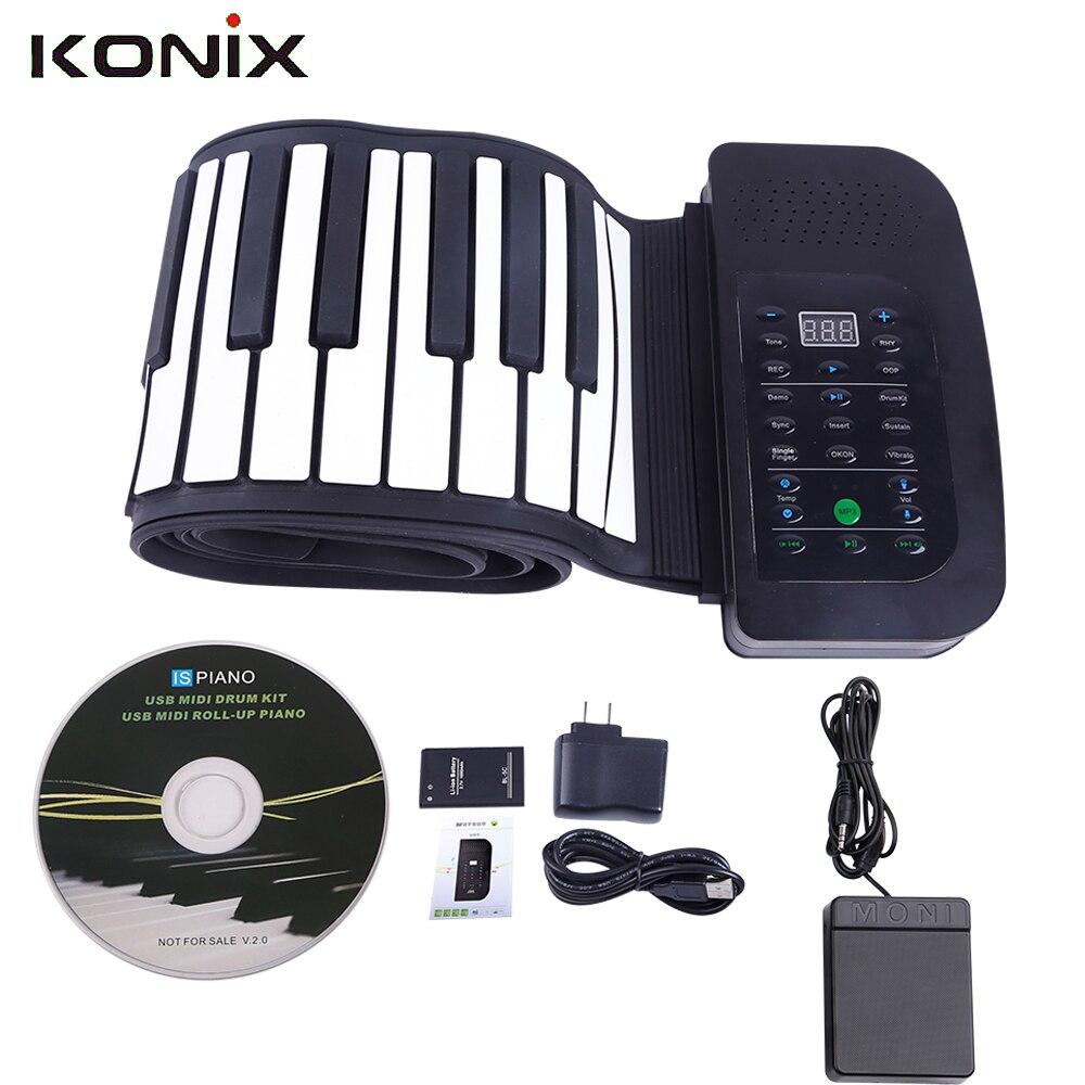 Wholesale KONIX PA88 88 Keys MIDI Flexible 140 Tones Electronic Roll Up Folding Piano Built-in Speaker with Battery midi клавиатура 88 клавиш miditech i2 stage 88