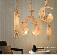 American country retro hemp rope chandelier individuality creative restaurant balcony lamp bar bar clothing store droplight