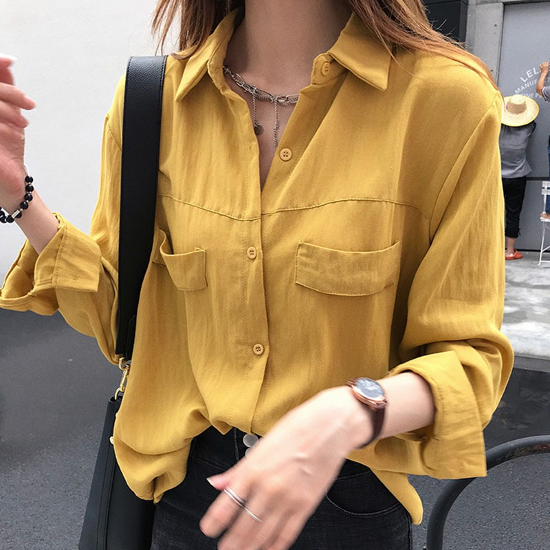 Women   Blouses   2018 Autumn Spring Casual Buttons Pocket Ladies   Blouse     Shirt   Female Top