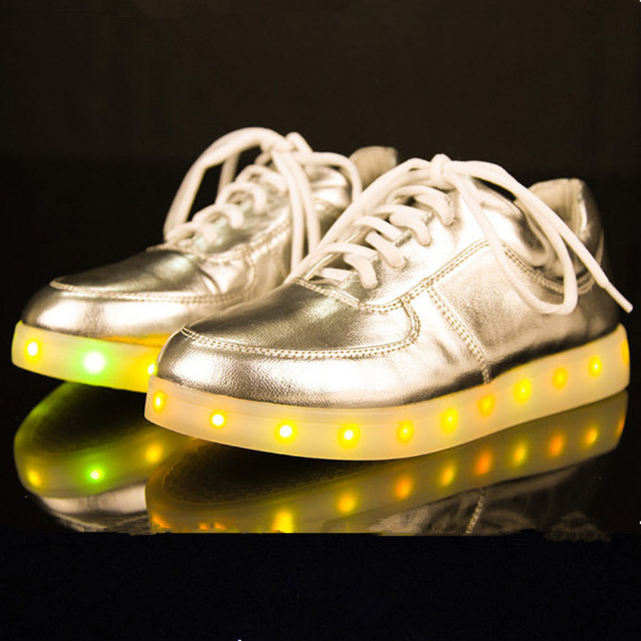 2015 New Led Shoes For Adult Black Basket Led Light Shoes Chaussure  Lumineuse Sliver Gold Women Light Up Shoes Mens size 12 cdc25eee512d