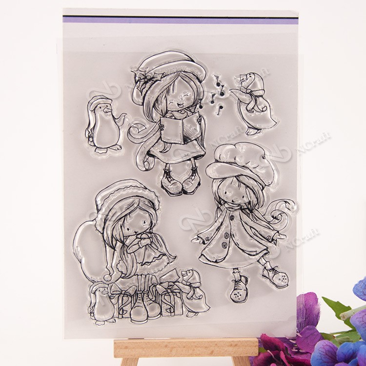 Happy girl Transparent Clear Silicone Stamp/Seal for DIY scrapbooking/photo album Decorative clear stamp sheets cartoon animals transparent clear silicone stamp seal for diy scrapbooking photo album decorative clear stamp sheets a555