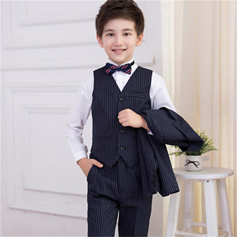 Korean boy striped suit flower girl dress boy children's small suit jacket big children to host the show children s suit suit spring and autumn boy dressed in big children korean flower children s clothing two candy colored jacket
