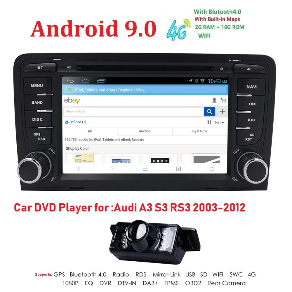 2Din 71024x600 QuadCore 2GB/16GB/32GB Android 9.0 PC Car DVD GPS For Audi A3 S3 2003-2013 With Stereo Radio WiFi 4G OBD DVR CAM2Din 71024x600 QuadCore 2GB/16GB/32GB Android 9.0 PC Car DVD GPS For Audi A3 S3 2003-2013 With Stereo Radio WiFi 4G OBD DVR CAM