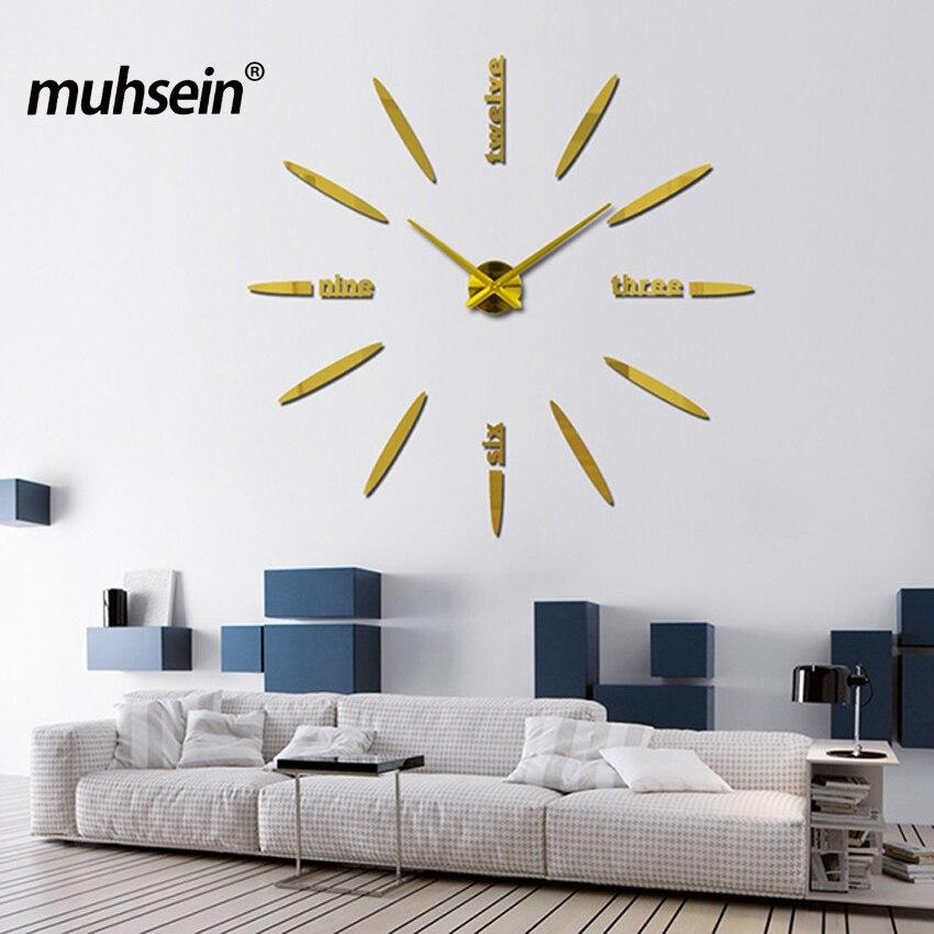 2019 ücretsiz kargo yeni duvar saati İzle saatler Dairesel relojde pared ev dekorasyon akrilik özel sticker Oturma Odası Iğne