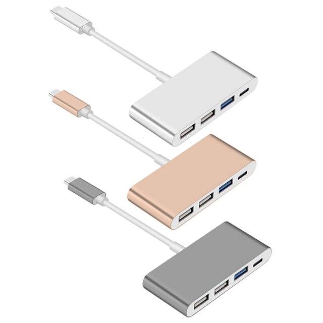 USB 3.1 Tipo C a 2 USB 2.0 + CABLE USB 3.0 HUB c puerto de carga usb hub otg cable adaptador para el macbook de google