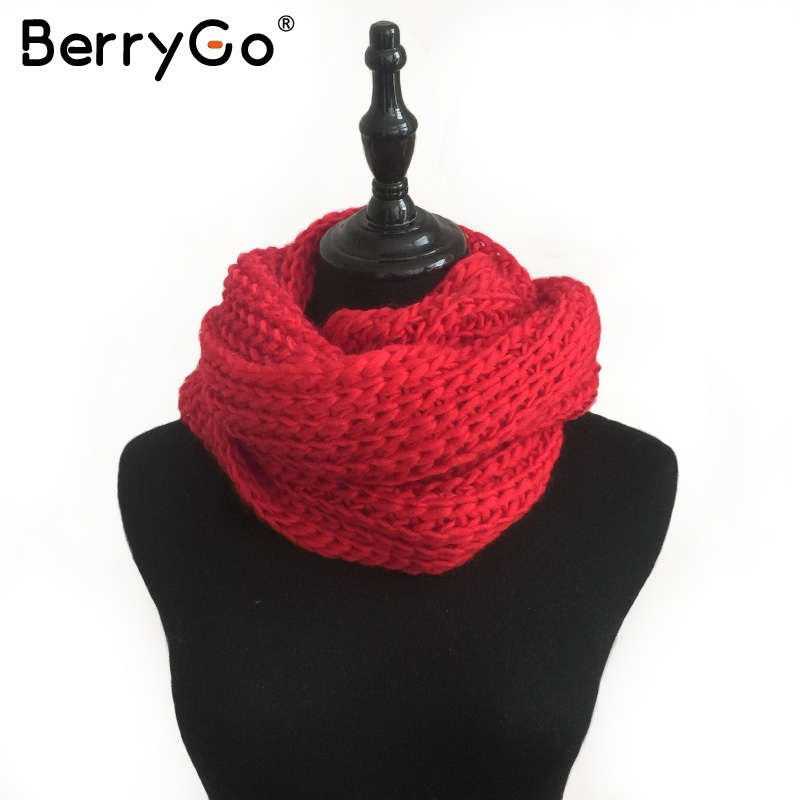 BerryGo Winter red knitted women scarf Casual streetwear autumn gray long warm scarf Female elegant soft white scarves 2017